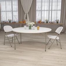 5-Foot Round Granite White Plastic Folding Table