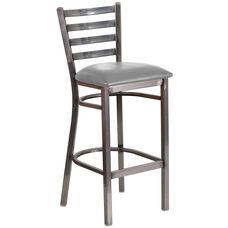 HERCULES Series Clear Coated Ladder Back Metal Restaurant Barstool - Custom Upholstered Seat