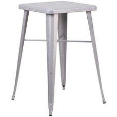 """Commercial Grade 23.75"""" Square Silver Metal Indoor-Outdoor Bar Height Table"""
