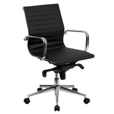 Mid-Back Black Ribbed Leather Swivel Conference Office Chair with Knee-Tilt Control and Arms