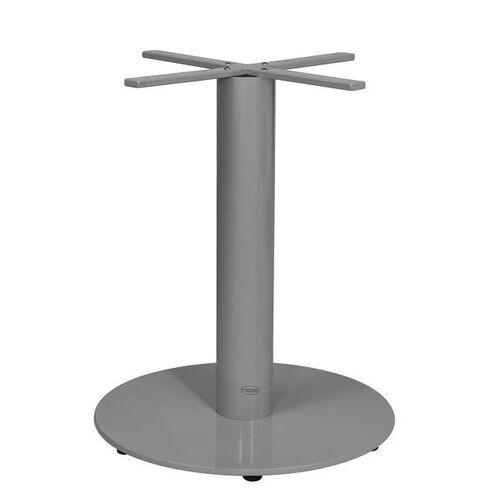 Verona Aluminum Dining Table with Large Round Base - Silver Powder Coat