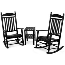 POLYWOOD® Jefferson 3-Piece Rocker Set - Black
