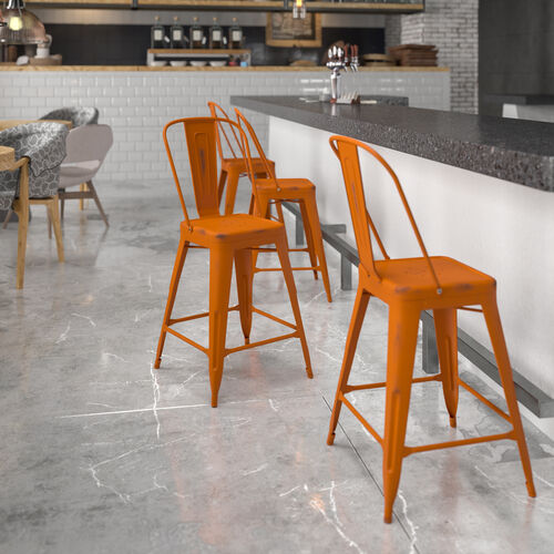 """Commercial Grade 24"""" High Distressed Orange Metal Indoor-Outdoor Counter Height Stool with Back"""