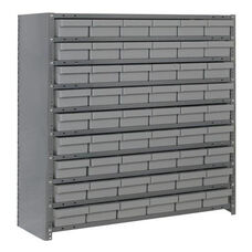 7 Shelf Closed Unit with 54 Bins - Gray