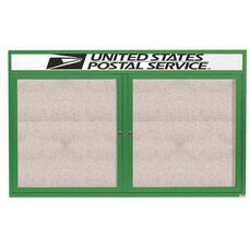 2 Door Outdoor Illuminated Enclosed Bulletin Board with Header and Green Powder Coated Aluminum Frame - 36