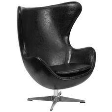 Black Leather Egg Chair with Tilt-Lock Mechanism