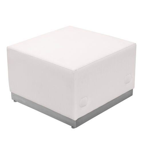 Our HERCULES Alon Series Melrose White LeatherSoft Ottoman with Brushed Stainless Steel Base is on sale now.
