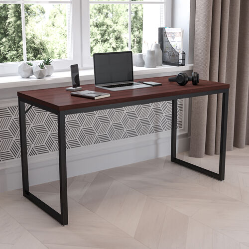 "Commercial Grade Industrial Style Office Desk - 55"" Length (Mahogany)"