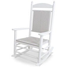 POLYWOOD® Jefferson Woven Rocker - White Frame / White Loom