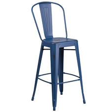 "Commercial Grade 30"" High Distressed Antique Blue Metal Indoor-Outdoor Barstool with Back"