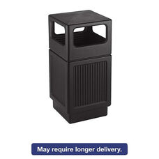 Safco® Canmeleon Side-Open Receptacle - Square - Polyethylene - 38gal - Textured Black