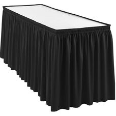 Wyndham 21 Foot Shirred Pleat Table Skirt with SnugTight™ Clips - Black