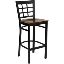 Black Window Back Metal Restaurant Barstool with Mahogany Wood Seat