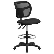Mid-Back Black Mesh Drafting Chair with Back Height Adjustment
