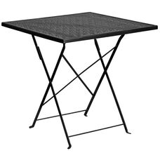 "Commercial Grade 28"" Square Black Indoor-Outdoor Steel Folding Patio Table"