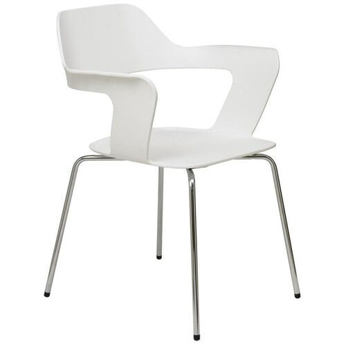 Julep Series Stacking Arm Chair with Flex Poly Shell and Silver Frame - White