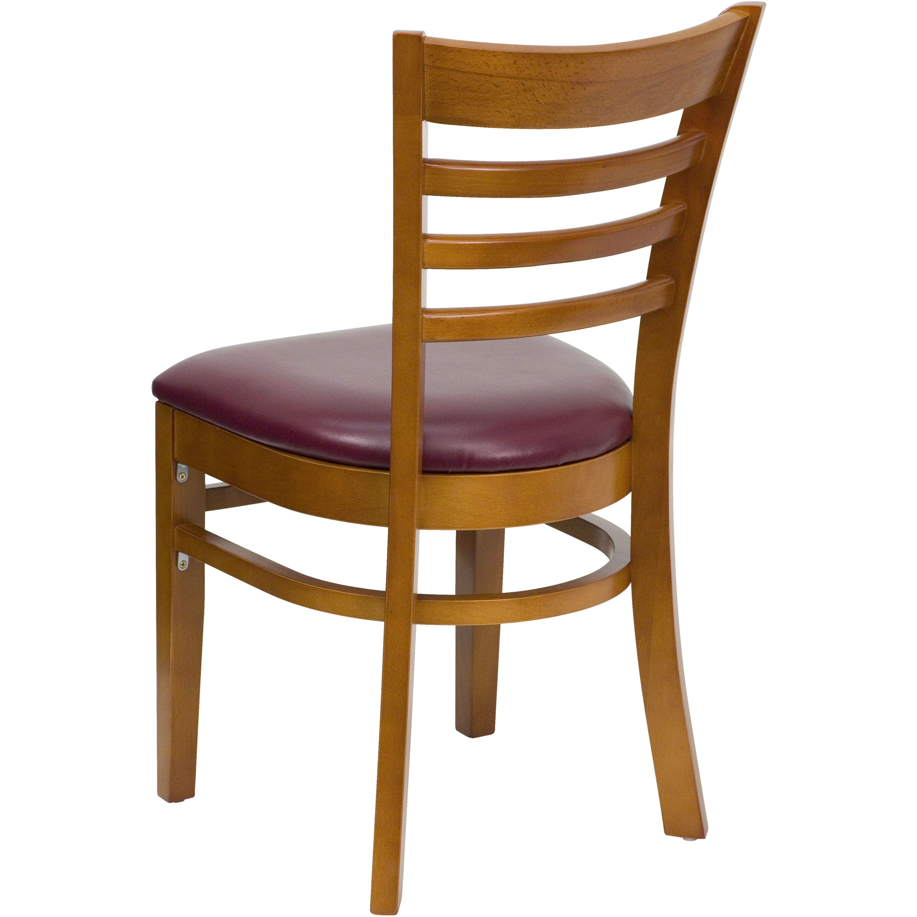 ... Our Cherry Finished Ladder Back Wooden Restaurant Chair With Burgundy  Vinyl Seat Is On Sale Now ...