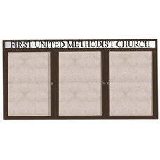 3 Door Outdoor Illuminated Enclosed Bulletin Board with Header and Bronze Anodized Aluminum Frame - 48