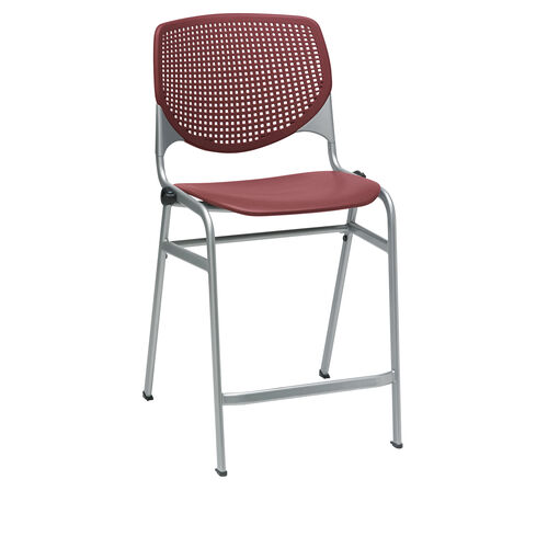 KOOL Series Stacking Poly Counter Height Stool with Perforated Back and Silver Frame - Burgundy