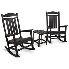 POLYWOOD® Presidential Rocker 3-Piece Set - Black