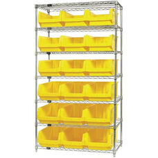 Wire Shelving Unit with 18 Magnum Bins - Yellow