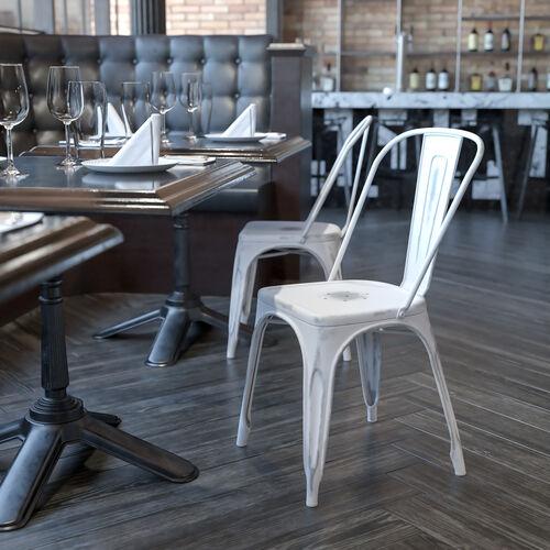 Commercial Grade Distressed White Metal Indoor-Outdoor Stackable Chair