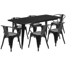 "Commercial Grade 31.5"" x 63"" Rectangular Black Metal Indoor-Outdoor Table Set with 6 Arm Chairs"