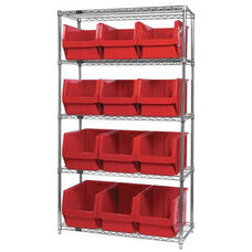 Wire Shelving Unit with 12 Magnum Bins - Red