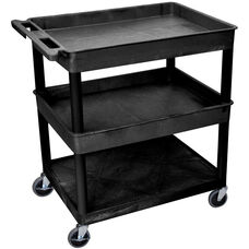 Heavy Duty Multi-Purpose Large Mobile Utility Cart with 1 Flat Bottom Shelf and 2 Tub Shelves - Black - 32