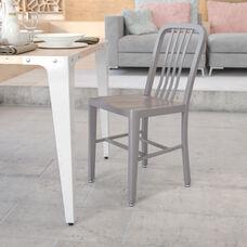 Commercial Grade Silver Metal Indoor-Outdoor Chair