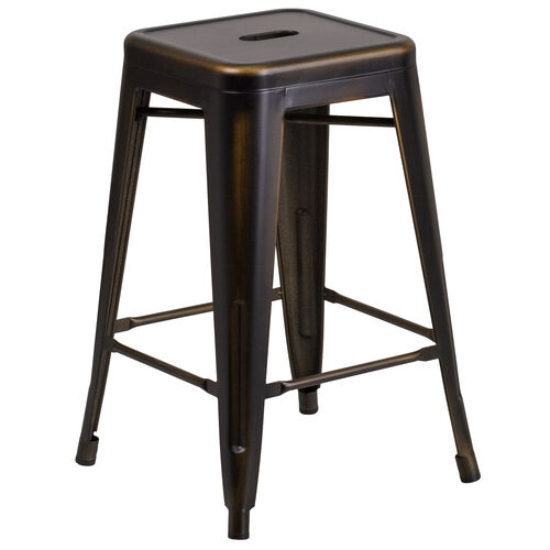 """Our Commercial Grade 24"""" High Backless Distressed Copper Metal Indoor-Outdoor Counter Height Stool is on sale now."""