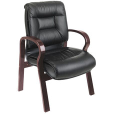 Pro-Line II Deluxe Mid-Back Leather Visitors Chair with Mahogany Finish - Black