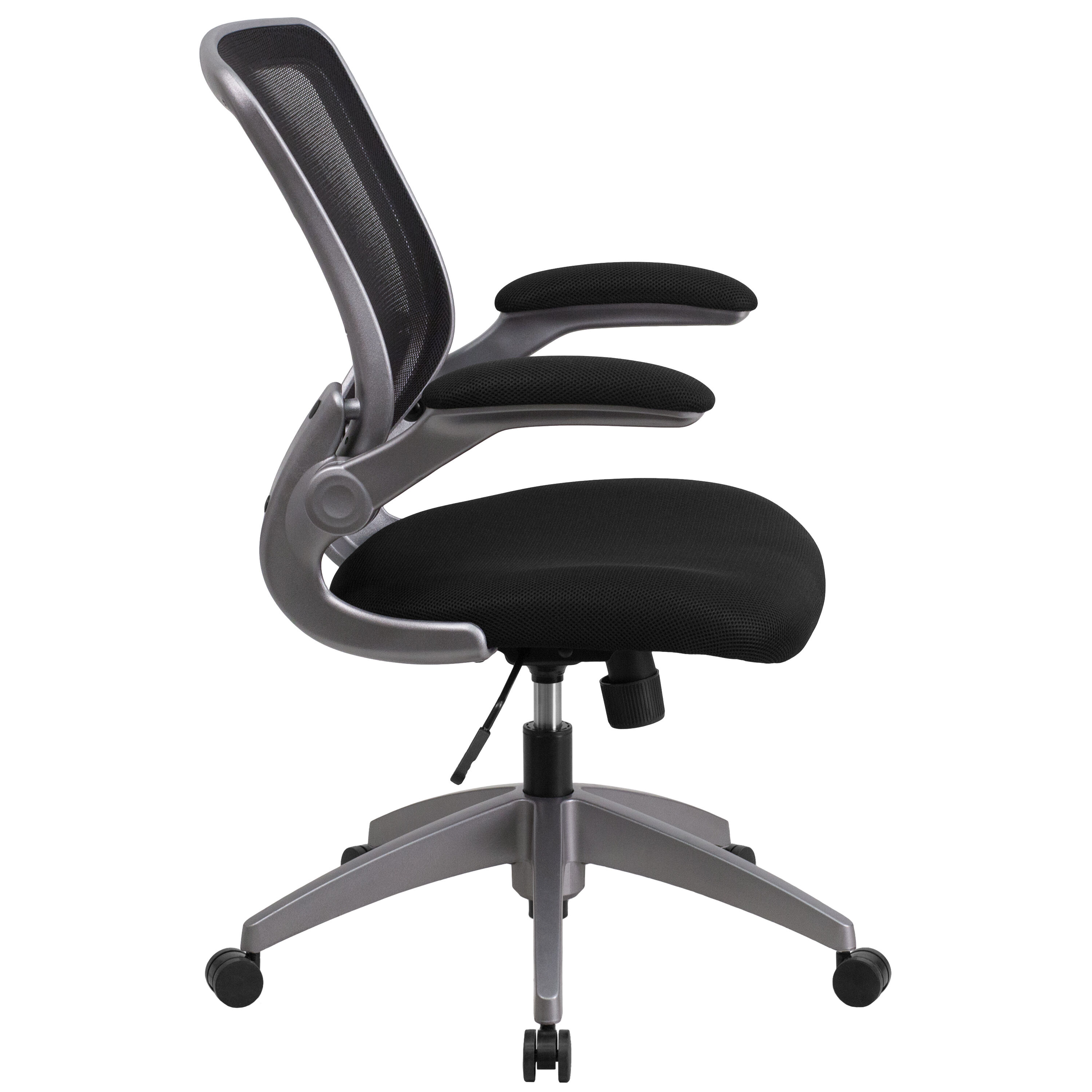 Mid Back Black Mesh Swivel Ergonomic Task Office Chair With Gray Frame And Flip Up Arms