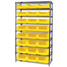 Wire Shelving Unit with 24 Magnum Bins - Yellow