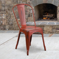 Commercial Grade Distressed Kelly Red Metal Indoor-Outdoor Stackable Chair