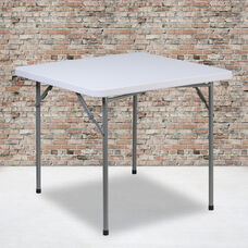 2.81-Foot Square Granite White Plastic Folding Table