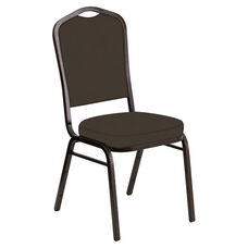Embroidered Crown Back Banquet Chair in E-Z Sierra Brown Vinyl - Gold Vein Frame