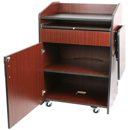 Multimedia Non-Sound Presentation Podium - Mahogany Finish - 33