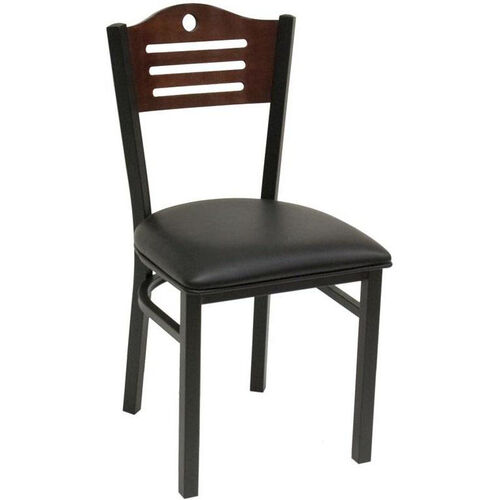 Our Armless Half Wood Back Dining Chair with Slotted Accents - Grade 4 Vinyl is on sale now.