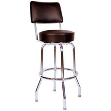 Retro Style Chrome Frame 24''H Swivel Bar Stool with Backrest and Padded Seat - Black Vinyl