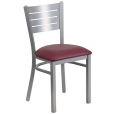 Silver Slat Back Metal Restaurant Chair with Burgundy Vinyl Seat