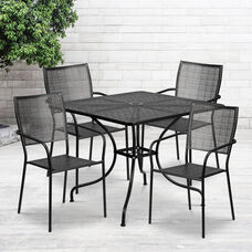 "Commercial Grade 35.5"" Square Black Indoor-Outdoor Steel Patio Table Set with 4 Square Back Chairs"
