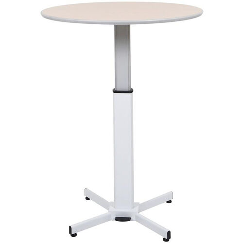 Adjustable Height Steel Frame Round Pedestal Table with Pneumatic Foot Pedal - Oak Laminate Top - 31.5