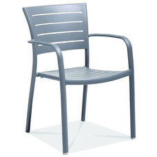 Riviera Collection Stackable Silver Aluminum Outdoor Arm Chair