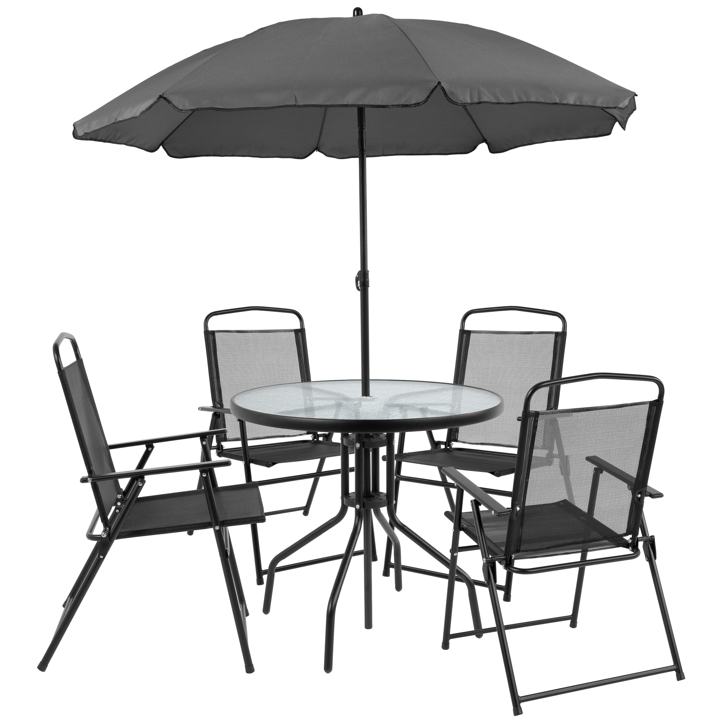 ... Our Nantucket 6 Piece Black Patio Garden Set With Table, Umbrella And 4  Folding Chairs ...
