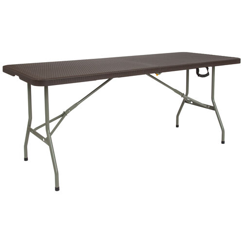 Our 6-Foot Bi-Fold Brown Rattan Plastic Folding Table is on sale now.