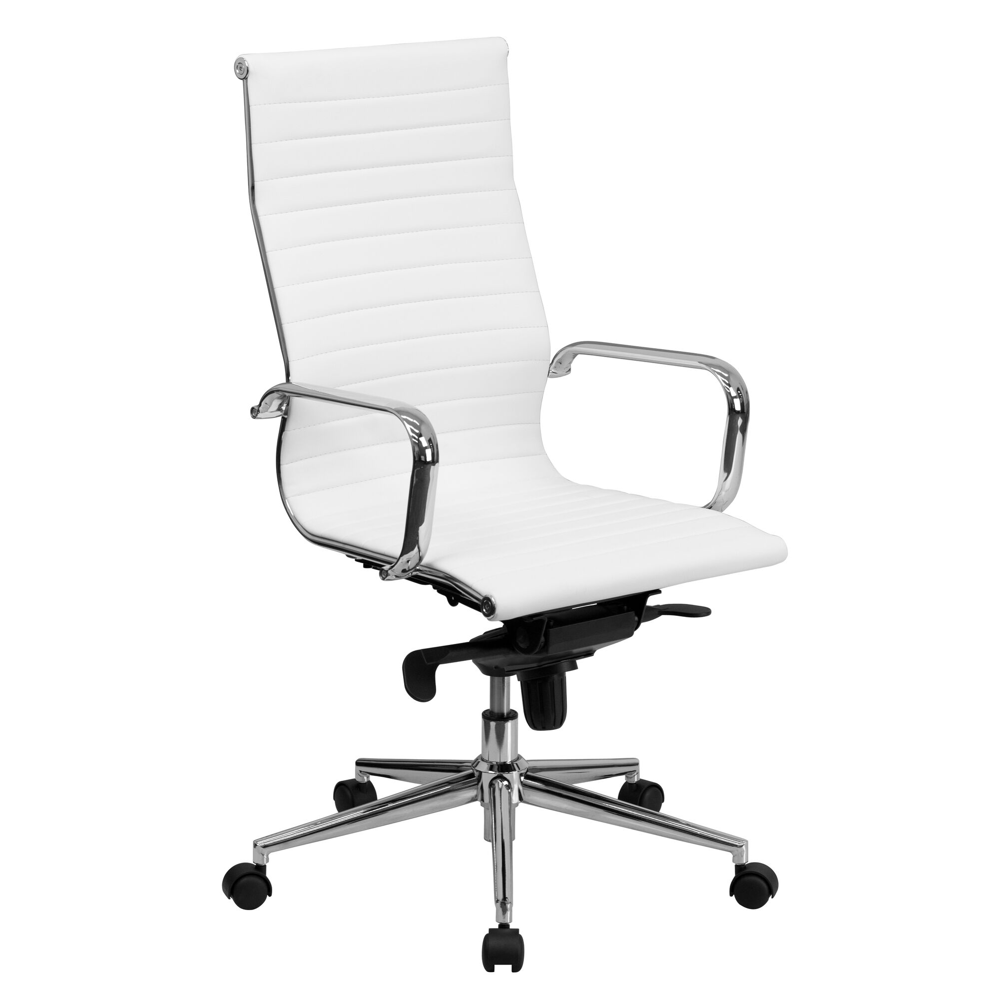 Images our high back white ribbed leather executive swivel office chair