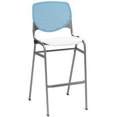 2300 KOOL Series Stacking Poly Armless Barstool with Sky Blue Perforated Back and White Seat
