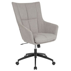 Barcelona Home and Office Upholstered High Back Chair in Light Gray Fabric