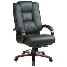 Pro-Line II High-Back Executive Leather Chair with Mahogany Base and Padded Arms - Black